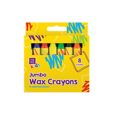 PACK OF 8 SAFE NON TOXIC KIDS ART ASSORTED COLOURED JUMBO WAX CRAYONS