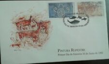 L) 1995 CHILE, ROCK PAINTING, ART, BLUE, 1.50C, ANIMALS, FDC