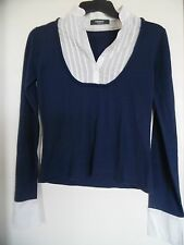 La Redoute  Blue Collared Sweater Top Blouse Size 10 12