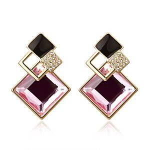 Fashion Rhinestone Crystal Wing Flower Ear Stud Drop Earrings Charm Women's Gift