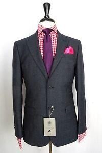 Men's Savile Row Suit Blue Check Tailored Fit Suit
