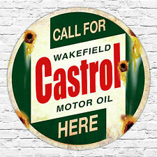 260 x 260mm Metal Sign call for castrol wakefield here distressed