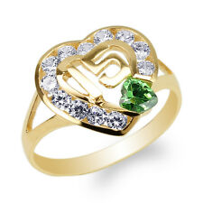 14K Yellow Gold 15 Anos Quinceanera Emerald CZ Heart Ring Size 4-10