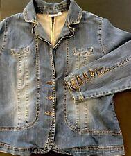 CATO Denim Jacket Jean Button Front Stretch Medium Wash Women Sz 14/16W
