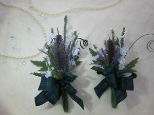 Thistle & Heather Buttonholes Or Corsages Wedding Flowers Groom Best man Tartan