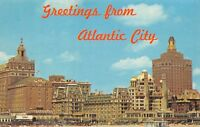 Vintage USA Postcard, Greetings from Atlantic City, View from the Beach 50i
