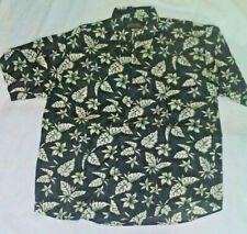 Men's Hawaiian Silk Shirt Tropical Print Black by Shaver Lake Size XL Tall