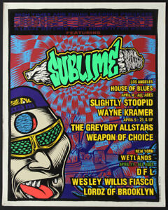 Sublime Slightly Stoopid 1996 Rare Joint Effort Silkscreen Poster LA NY J Howard