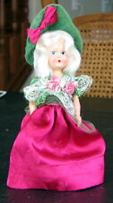 "Doll 6"" Hard plastic Dresser Blonde painted face Drk Pink Dress green felt hat"