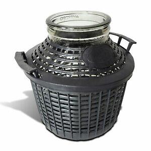 Gallon, Demijohn in a Plastic Basket, Home Wine Making + Rubber Hood option 10 L
