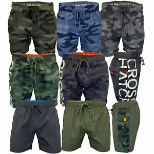 Mens Camouflage Swim Shorts Crosshatch Army Military Knee Length Casual Summer