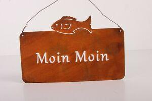 Moin Moin Edelrost Tafel Schild mit Fisch zum hängen Garten Deko Rost