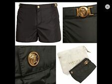 new VERSACE BEACHWEAR gold  medusa buckle black nylon swim shorts IT4 32""