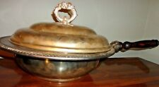 VINTAGE SILVER PLATED  ANTIQUE CHAFFING PAN DISH WITH WOOD HANDLE WITH LID