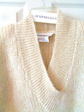 ANDREA JOVINE Pullover V-Neck Sweater Natural Mohair Wool Blend NEW Oversized M