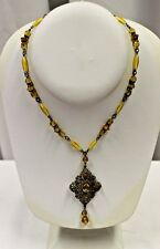 """Vintage Victorian Amber Jeweled & Beaded Silver Tone Necklace 15.5"""""""