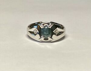 Sterling Silver Genuine 7 x 5mm Oval Blue Sapphire and Diamonds Man's Ring