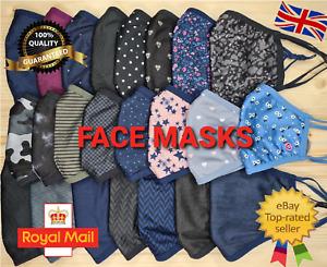 Triple Layer MENS WOMENS KIDS Face Mask Cotton LOT Hight Quality Masks UK