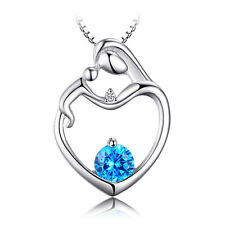Natural Swiss Blue Topaz Diamond Heart Mother Child Necklce Pendant Love Special