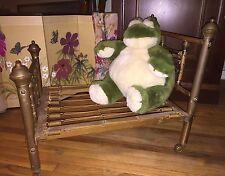 Antique Salesman Sampler Brass Metal Doll Dog Bed on Wheels