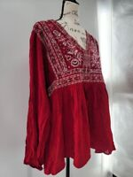 Knox Rose Womens Red V Neck Long Sleeve Ruffle Embroidered Blouse Top Size XXL