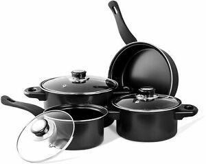 7 Pcs Prima Carbon Steel High Quality Cookware Set With Tempered Glass Lid Black
