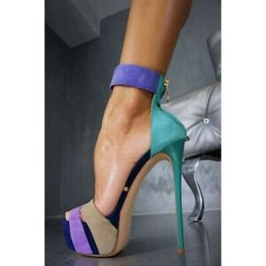 Ladies Splice High Stiletto Heels Sandals Platform Buckle Sexy Club Party Shoes