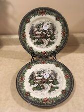 "Royal Stafford Christmas Village Dinner Plates Set of Two 10 7/8"" England NWT"