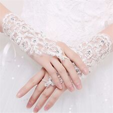 Girls First Holy Communion Baptism Ivory Satin Beaded Pearls Fingerless Gloves