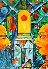 "Painting ORIGINAL Acrylic 27x19"" Contemporary Art by Pronkin modern symbolism"