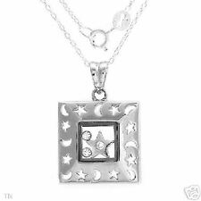 Necklace w/ Cz in White Plastic & Solid Sterling Silver