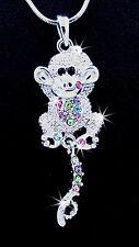 New Monkey Silver Tone Multi Color Austrian Crystal Pendant Charm Necklace