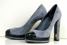 NEW CHANEL SUEDE LEATHER SHOES GRAY TRIBUTE WOMEN ITALY HEELS 10 40