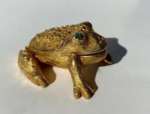Vintage Mystery Solid Perfume Gilt Brass Compact Box Green Rhinestone Frog Toad