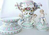 Antique German Sitzendorf Porcelain 3 pc. Potpourri Urn Cherubs