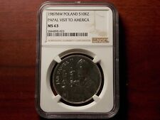 1987 MW Poland 10000 Zlotych silver coin NGC MS-63 Papal visit to America