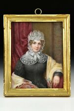 Signed Josephine Wright Miniature Oil on Glass Portrait Painting Dated 1908