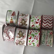Lot Of 8 Makers Holiday Candy, White & Red Holiday Ribbons