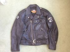 HARLEY DAVIDSON LEATHER JACKET - MENS BLACK LEATHER - SIZE L