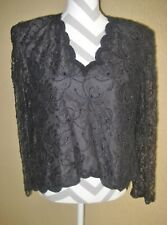 Lawrence Kazar NY black lace beaded overlay LS scalloping evening top PL