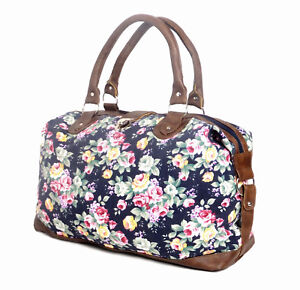 Womens Canvas Overnight Bag Ladies Floral Weekend Hand Luggage Travel Holdall