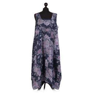 Italian Vintage Rose Sleeveless Linen Dress from Timeless Season