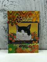 "ACEO Artist Trading Card ""The Cat Life"" Handmade Stickers & Glitter"