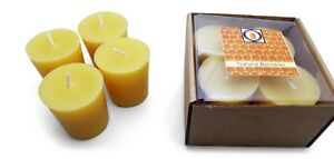 4 Natural Honey Scented 100 Percent  Beeswax Votives, Votive Candles, 12 Hour