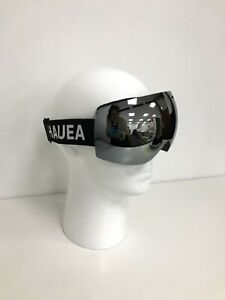 New Hauea Mirrored Ski Goggles Adult Adjustable Black Silver Hard Case 421088