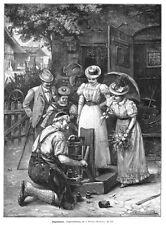 """Dame auf der Waage, """"Zugenommen?"""", Dezimalwaage, Original-Holzstich von 1899"""