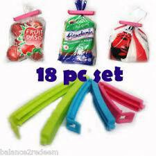 SET OF 18 PCS SEAL IT CLIPS Kitchen Food Snacks Plastic Bag Sealing locking clip