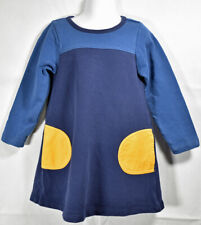 Girls BOUTIQUE HANNA ANDERSSON BLUE COLOR BLOCK Yellow Long Sleeve DRESS 100 4yr