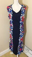 Boden Dress Navy Blue Floral Stretchy Ruching 14L 14 TALL