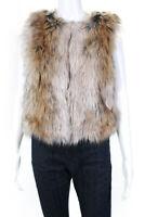 BB Dakota Womens Faux Fur Sleeveless Scoop Neck Vest Beige Brown Size XS